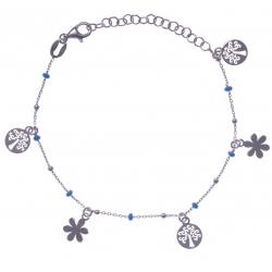 Bracelet argent rhodié 2,5g - breloques arbres de vie et fleurs - perles bleues