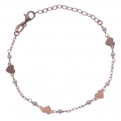 Bracelet argent rosé 1,9g - coeurs - perles blanches - 16+4cm