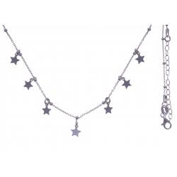Collier argent rhodié 3,4g - pampilles étoiles - 40+5cm