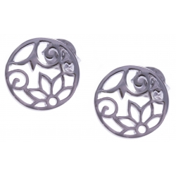 Boucles d'oreille argent rhodié 1,2g - fleurs