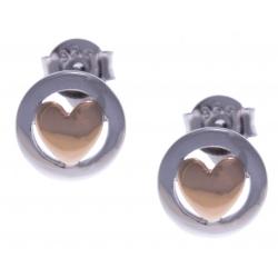 Boucles d'oreille argent rhodié 1,2g - 2 tons - cúurs