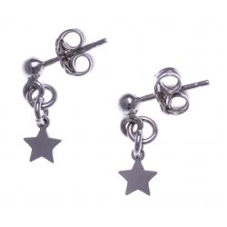 Boucles d'oreille argent rhodié 1g - étoiles