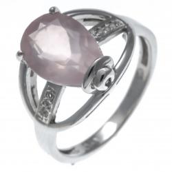 Bague en argent rhodié 3,4g - poire 8*12mm - quartz rose - topaze blanche - Tail