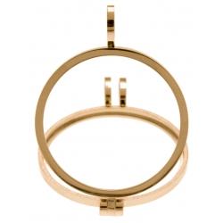 Pendentif en acier doré - support pierre interchangeable - diamètre 20mm
