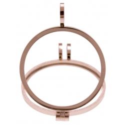 Pendentif en acier rosé - support pierre interchangeable - diamètre 20mm