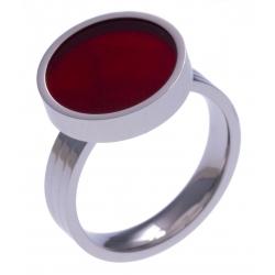 Pierre naturelle pour bague interchangeable Yola - diamètre 14mm - Agate rouge