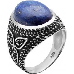 Bague en argent rhodié 9g - 2 tons - lapiz lazuli - T56 à 70