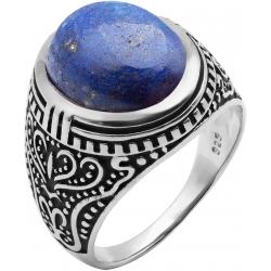 Bague en argent rhodié 8g - 2 tons - lapis lazuli - T 56 à 70
