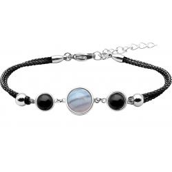 Bracelet en acier et coton noir - cabochon onyx  -  agate blue lace - onyx -  diamètre 8, 11 et 8mm - 16+4cm