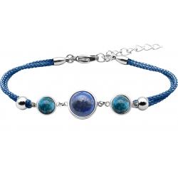 Bracelet en acier et coton bleu - cabochon apatite  -  lapis - apatite -  diamètre 8, 11 et 8mm - 16+4cm