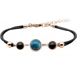 Bracelet en acier rosé et coton noir - cabochon onyx  -  apatite - onyx -  diamètre 8, 11 et 8mm - 16+4cm