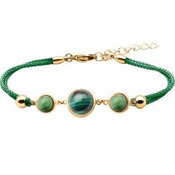 Bracelet en acier doré et coton vert - cabochon zoïsite  -  malachite - zoïsite -  diamètre 8, 11 et 8mm - 16+4cm