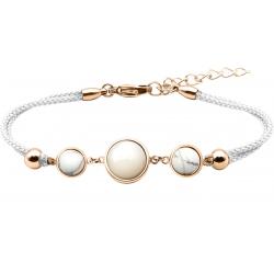 Bracelet en acier rosé et coton blanc - cabochon howlite  - nacre blanche - howlite -  diamètre 8, 11 et 8mm - 16+4cm