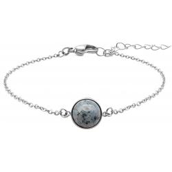 Bracelet en acier - cabochon jaspe sesame - 11mm - 16+4cm