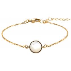 Bracelet en acier doré - cabochon nacre blanche - 11mm - 16+4cm
