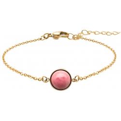 Bracelet en acier doré - cabochon rhodonite - 11mm - 16+4cm