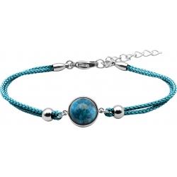 Bracelet en acier et coton bleu - cabochon apatite - 11mm - 16+4cm