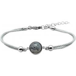Bracelet en acier et coton gris - cabochon  jaspe sesame  - 11mm - 16+4cm