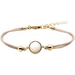 Bracelet en acier doré et coton gris - cabochon nacre blanche  - 11mm - 16+4cm