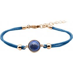Bracelet en acier rosé et coton bleu foncé - cabochon lapis  - 11mm - 16+4cm