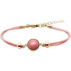 Bracelet en acier doré et coton rose - cabochon rhodonite  - 11mm - 16+4cm