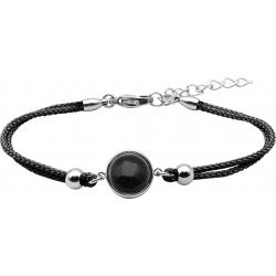 Bracelet en acier et coton noir - cabochon onyx  - 11mm - 16+4cm
