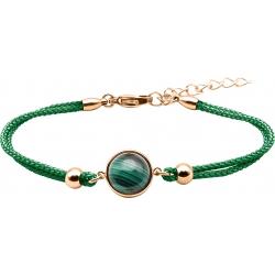 Bracelet en acier rosé et coton vert - cabochon malachite  - 11mm - 16+4cm