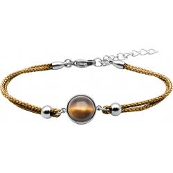 Bracelet en acier et coton marron - cabochon œil de tigre  - 11mm - 16+4cm