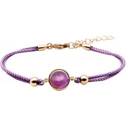 Bracelet en acier rosé et coton violet - cabochon améthyste  - 11mm - 16+4cm