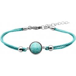 Bracelet en acier et coton vert clair - cabochon amazonite  - 11mm - 16+4cm