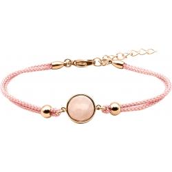Bracelet en acier rosé et coton rose - cabochon quartz rose  - 11mm - 16+4cm