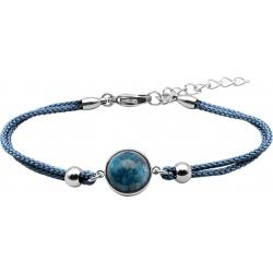 Bracelet en acier et coton bleu - cabochon chrysocolle  - 11mm - 16+4cm