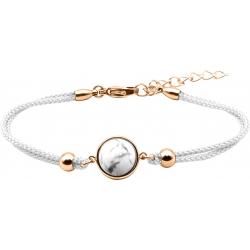 Bracelet en acier rosé et coton blanc - cabochon howlite  - 11mm - 16+4cm