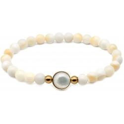 Bracelet élastique - billes nacre blanche 6mm - cabochon acier doré et nacre blanche 11mm - 18cm