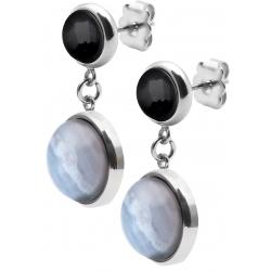 Boucles d'oreille en acier  - cabochon agate blue lace et onyx - diamètre 11 et 8mm