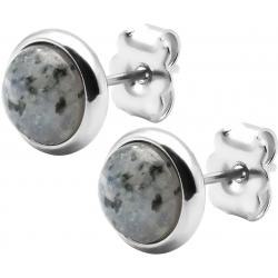 Boucles d'oreille en acier - jaspe sesame  8mm