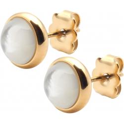 Boucles d'oreille en acier doré - nacre blanche  8mm