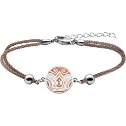Bracelet acier - nacre - émail - feuilles orangées - coton marron - 16+4cm