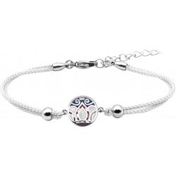 Bracelet acier - nacre - émail - feuilles bleues - rose - coton blanc - 16+4cm