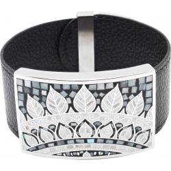 Bracelet acier - émail - nacre - feuilles noires & blanches - cuir noir - largeur 3cm - longueur 23,5cm