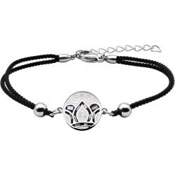 Bracelet acier - nacre - émail - feuilles noires & blanches - coton blanc - 16+4cm