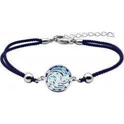 Bracelet acier - nacre - émail - coton noir - 16+4cm
