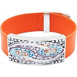 Bracelet acier - émail - nacre - cuir orange - largeur 2cm - longueur 23,5cm