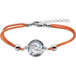 Bracelet acier - nacre - émail - coton orange - 16+4cm