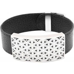 Bracelet acier - émail - nacre - fleur de vie - cuir noir - largeur 2cm - longueur 23,5cm