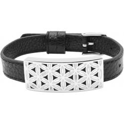 Bracelet acier - fleur de vie - émail - nacre - cuir noir - largeur 1cm - bracelet montre réglable