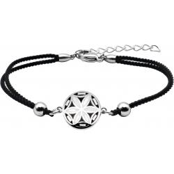 Bracelet acier - nacre - émail - fleur de vie - coton noir - 16+4cm