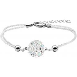 Bracelet acier - nacre - émail - coton blanc - 16+4cm