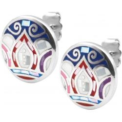 Boucles d'oreille acier - feuilles bleues - rose - nacre - émail