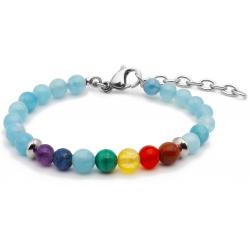 Bracelet STILIVITA en acier - 7 CHAKRAS - jaspe rouge, cornaline, citrine, malachite, aigue marine, lapis lazuli, améthyste -…